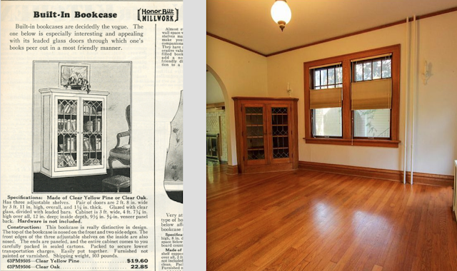 side by side views of catalog image of Sears corner bookcase with leaded glass doors next to real thing in Sears Barrington 210 Ridgedale Rd, Ithaca, NY dining room