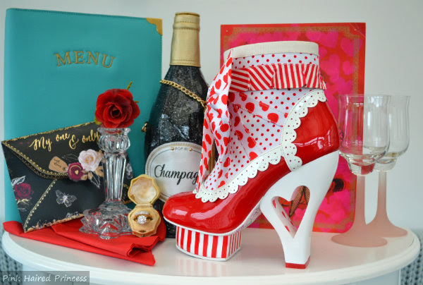 irregular choice rosie with love red ankle boots