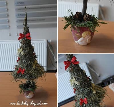 Dekoracje Bożonarodzeniowe- choinka z sianka