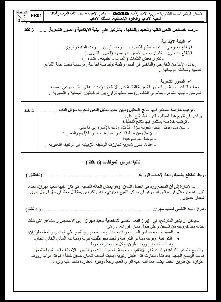 الامتحان الوطني الموحد للباكالوريا / اللغة العربية، مسلك الآداب، الدورة الاستدراكية 2012