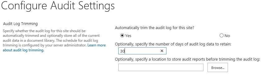 Audit log in sharepoint