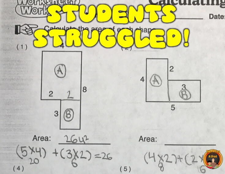 Students struggled at finding the area of irregular shapes