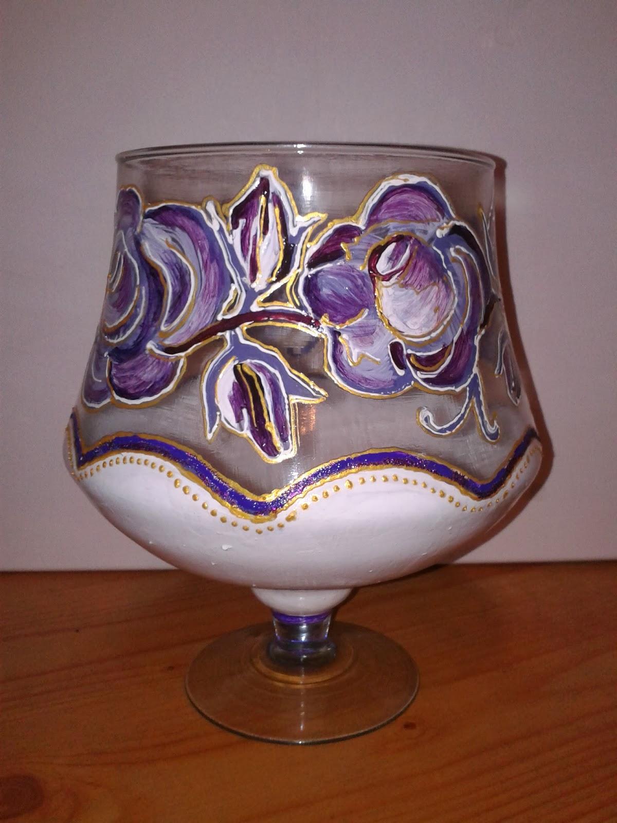 kielich ozdobny ręcznie malowane kwiaty