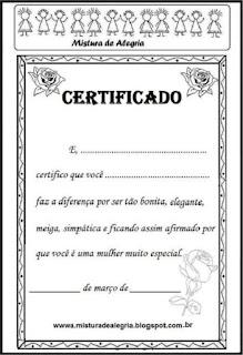Dia da mulher certificado para colorir
