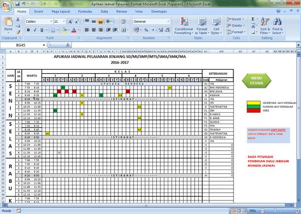 Aplikasi Jadwal Pelajaran Sekolah Format Microsoft Excel