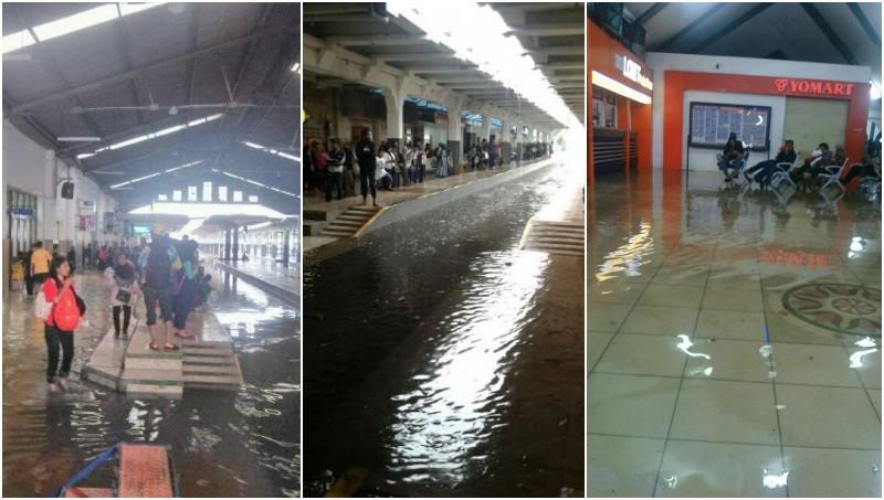 Banjir ini membuat kereta api tak bisa masuk stasiun