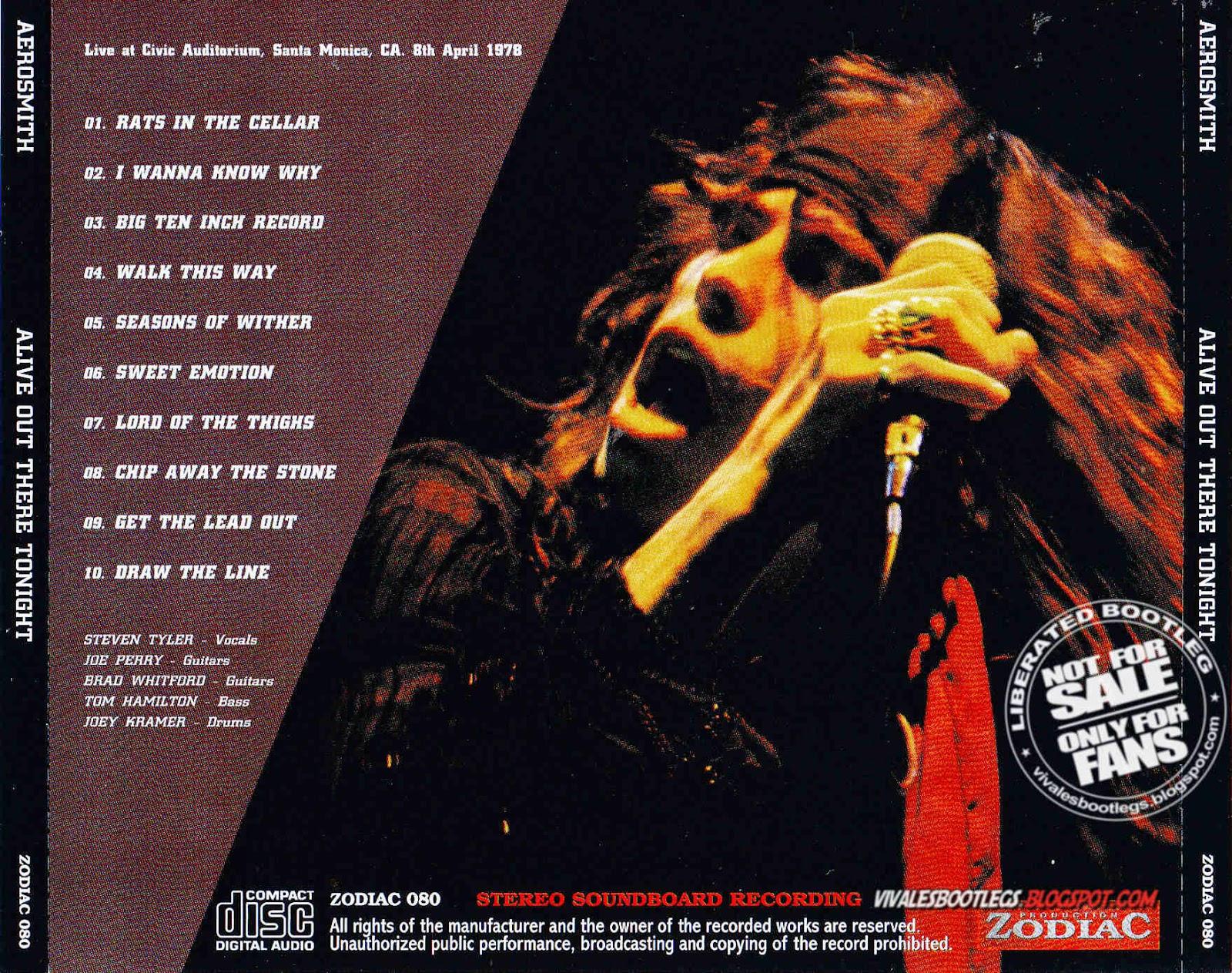 Aerosmith live bootleg album cover not
