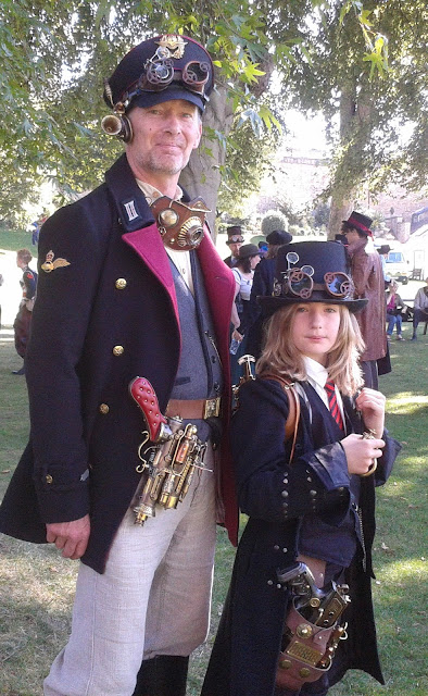 steampunk dad with kid in costume