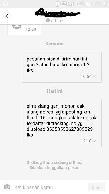 Chat ke pelapak di Bukalapak terkait kesalahan nomor resi.