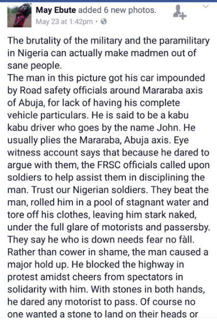 Soldiers Together With FRSC Officials, Allegedly Stripped A Driver Naked, Today In Abuja, For Not Having His Complete Car Documents