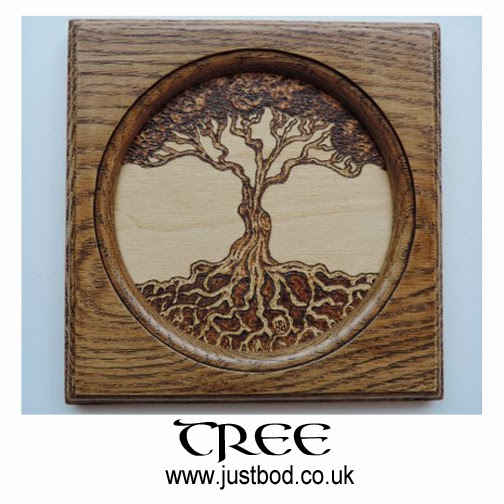 Hand burnt Celtic Tree of Life wall plaque