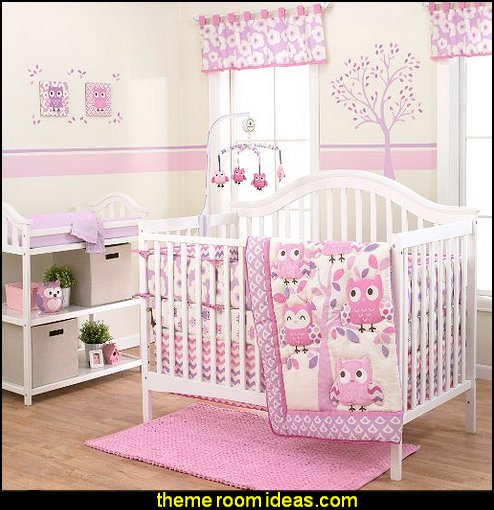 Dancing Owls Chevron Purple and Pink crib bedding