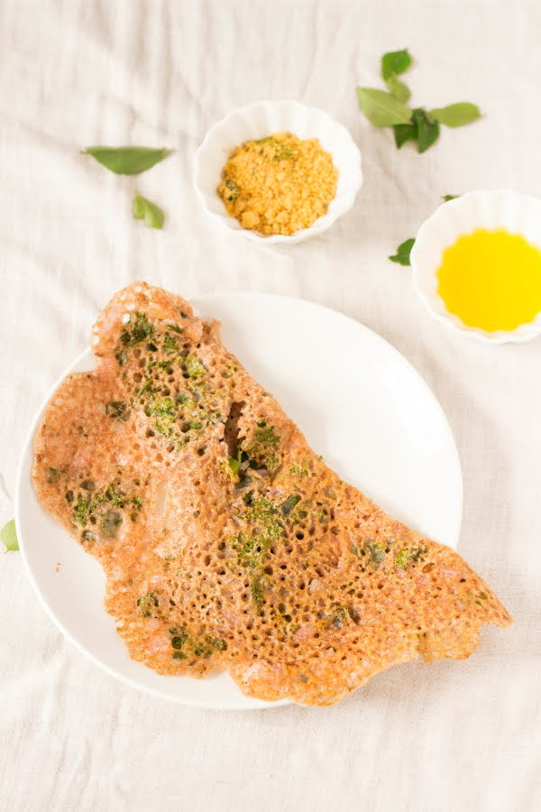 How to make instant ragi dosa or finger millet crepe at www.oneteaspoonoflife.com
