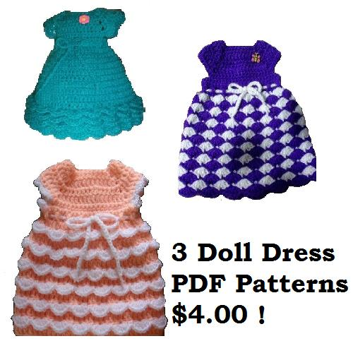 Crochet Doll & Toy Downloads - Special Occasion Fashions for 18 ... | 500x500