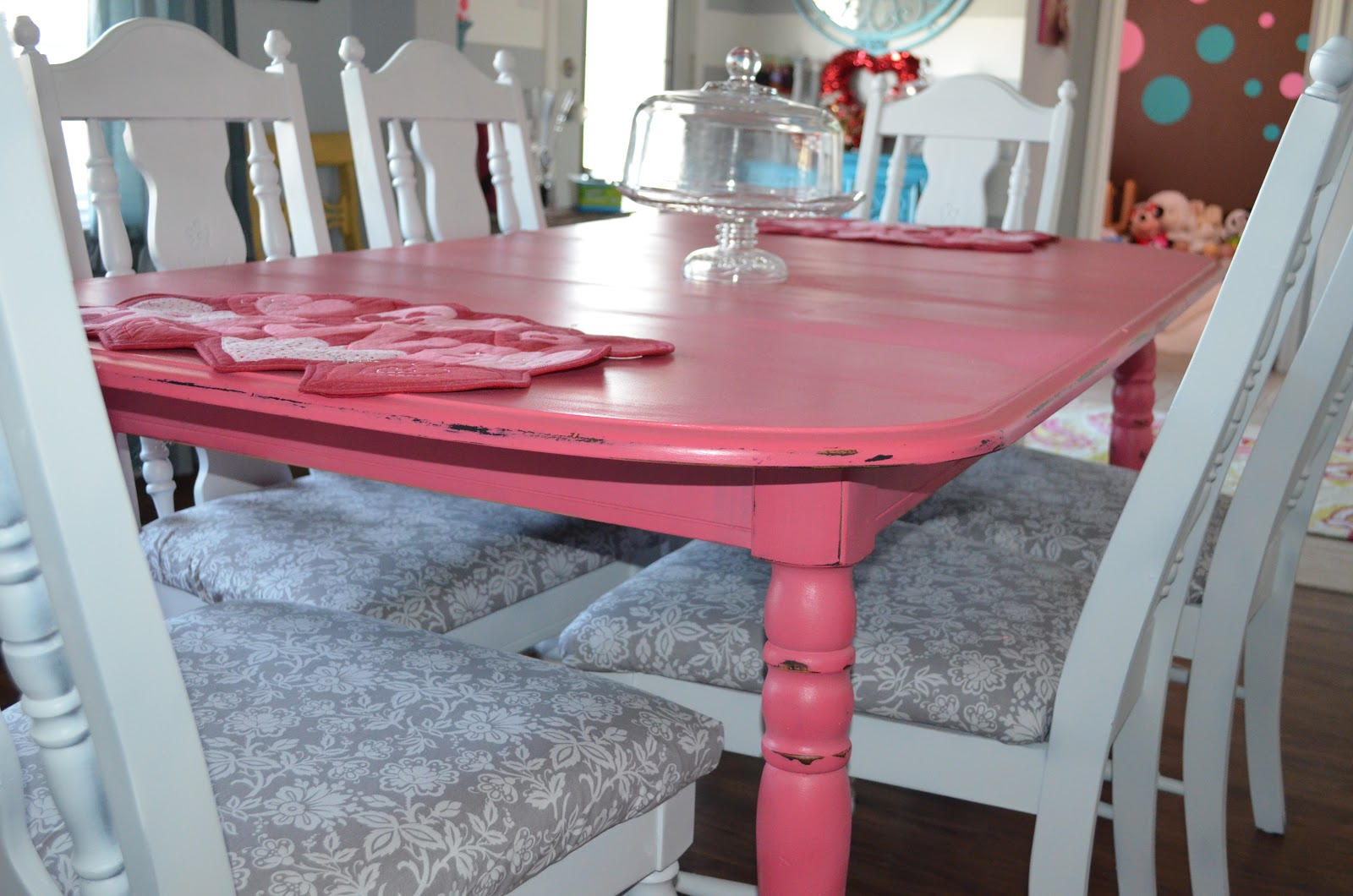 Skinny Meg Dining Room Home Tour. Pink Dining Chairs ...