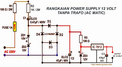 Rangkaian Power Supply AC MATIC 12Volt