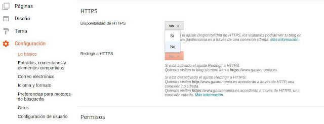 activar certificado HTTPS blogger dominio propio