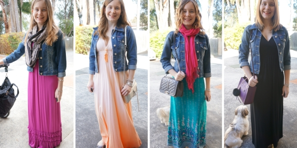 denim jacket and colourful maxi dresses autumn and spring layers  ways to wear | away from blue