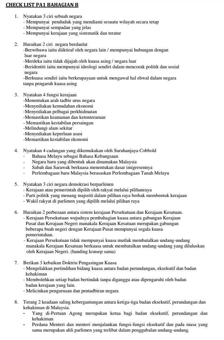 Checklist Soalan Dan Jawapan Pengajian Am Soalan Beserta Jawapan Checklist Pengajian Am Bahagian B