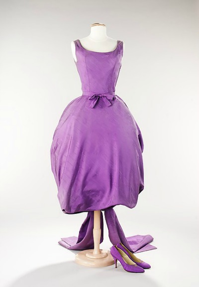 Orchid Evening Ensemble including dress and matching shoes designed by Givenchy 1956 on dress form