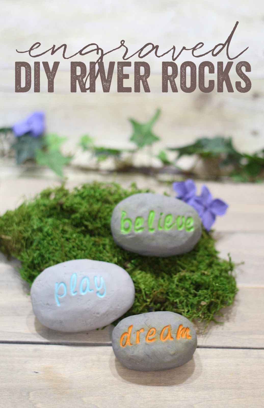 DIY engraved inspirational river rocks stones polymer clay