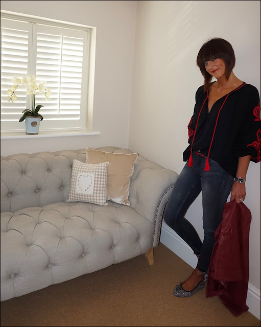 My Midlife Fashion, Zara boho embroidered top, red leather jacket, sparkly ballet pumps, skinny raw edge jeans