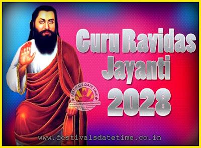 2028 Guru Ravidas Jayanti Date & Time, 2028 Ravidas Jayanti Calendar