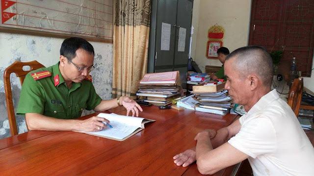 Nghi can Chu Văn Tân tại cơ quan điều tra Công an huyện Yên Thành, Nghệ An