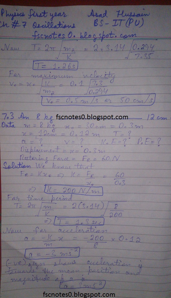 F.Sc ICS Notes: Physics XI: Chapter 7 Oscillations Numerical Problems Asad Hussain 1