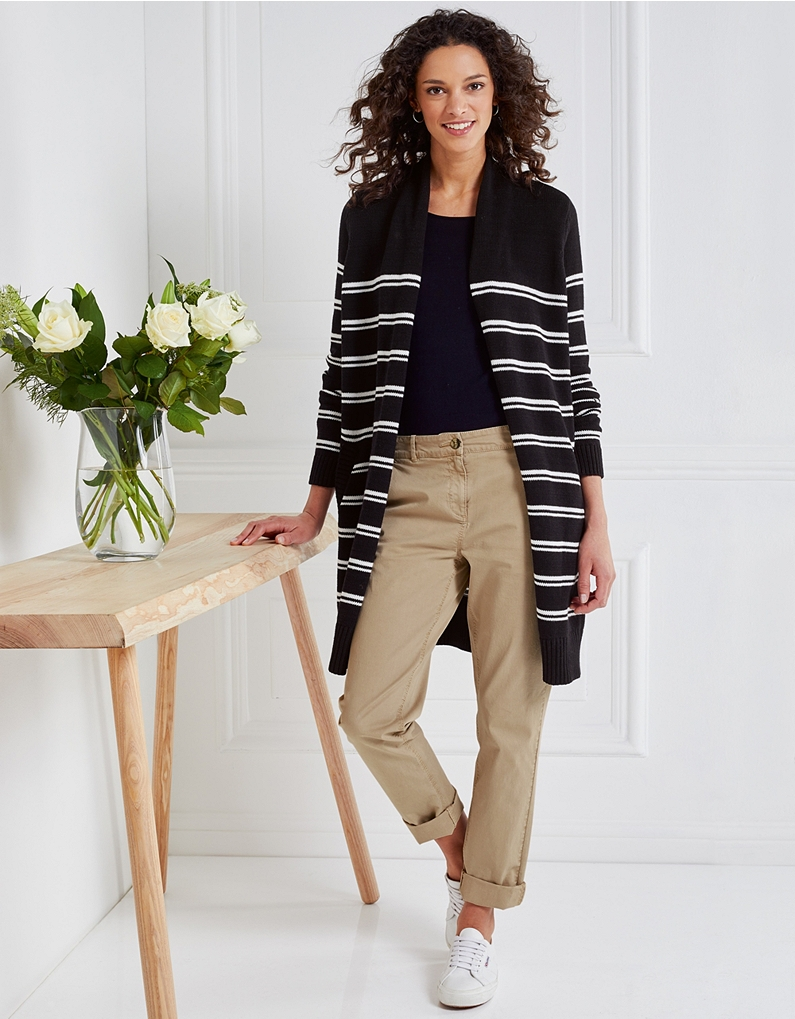 the white company stripe long cardigan