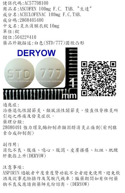 德佑藥局藥袋資訊暨藥品外觀分享