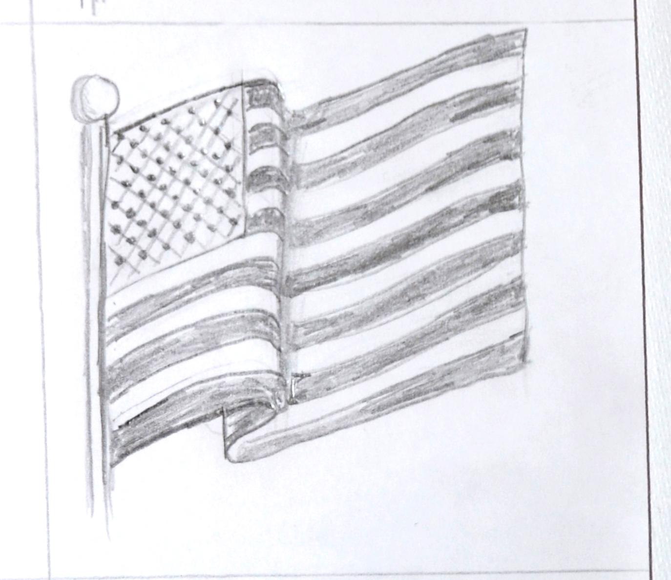 Pencil Drawings Flags
