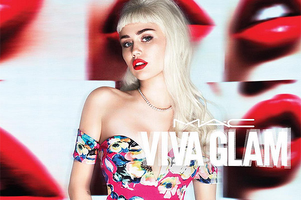 Miley Cyrus in the new advertising campaign of MAC Viva Glam