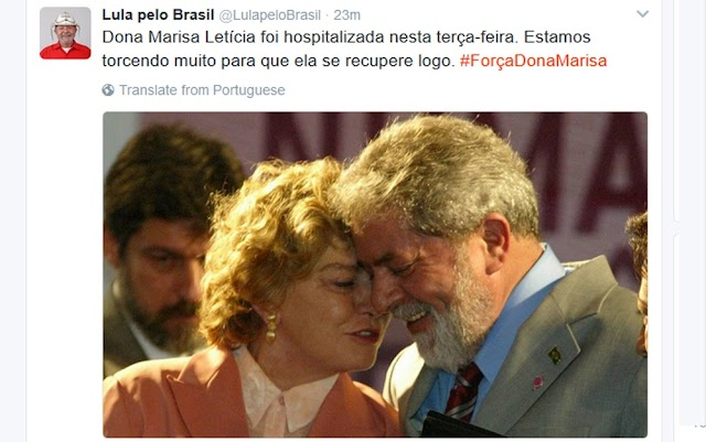 Mulher do Ex-Presidente Lula sofre AVC