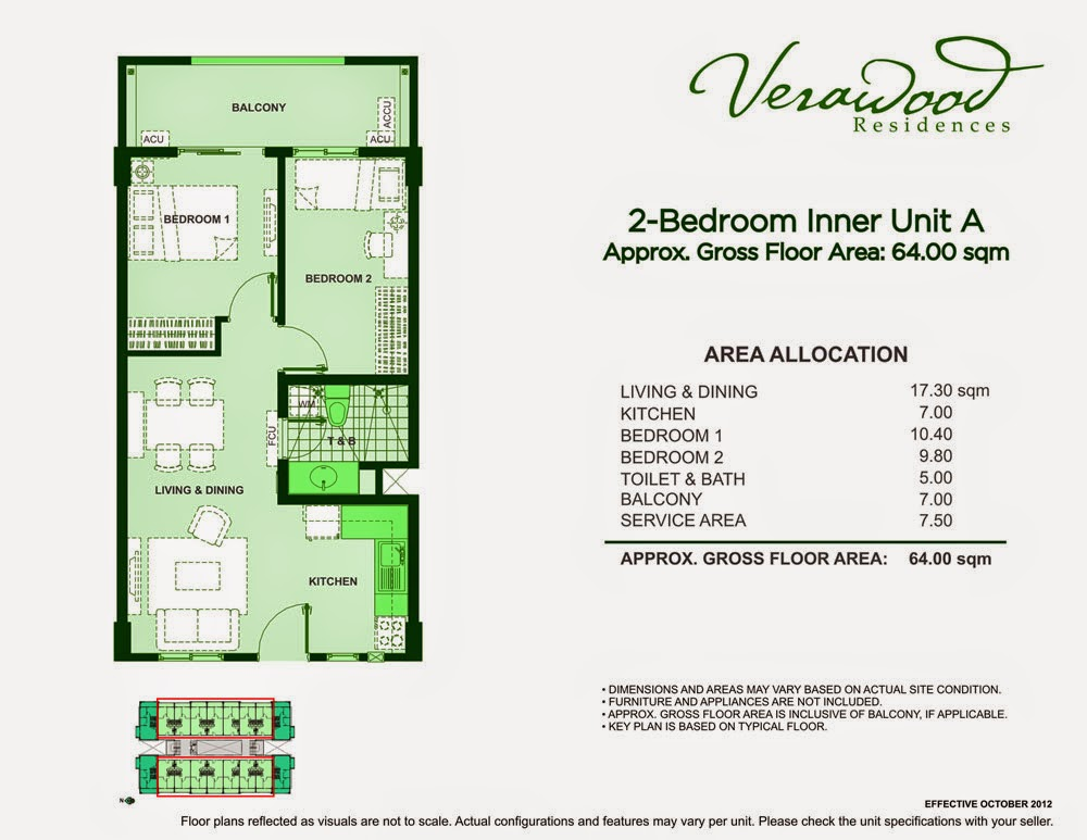 Verawood Residences 2-Bedroom 64sqm unit plan