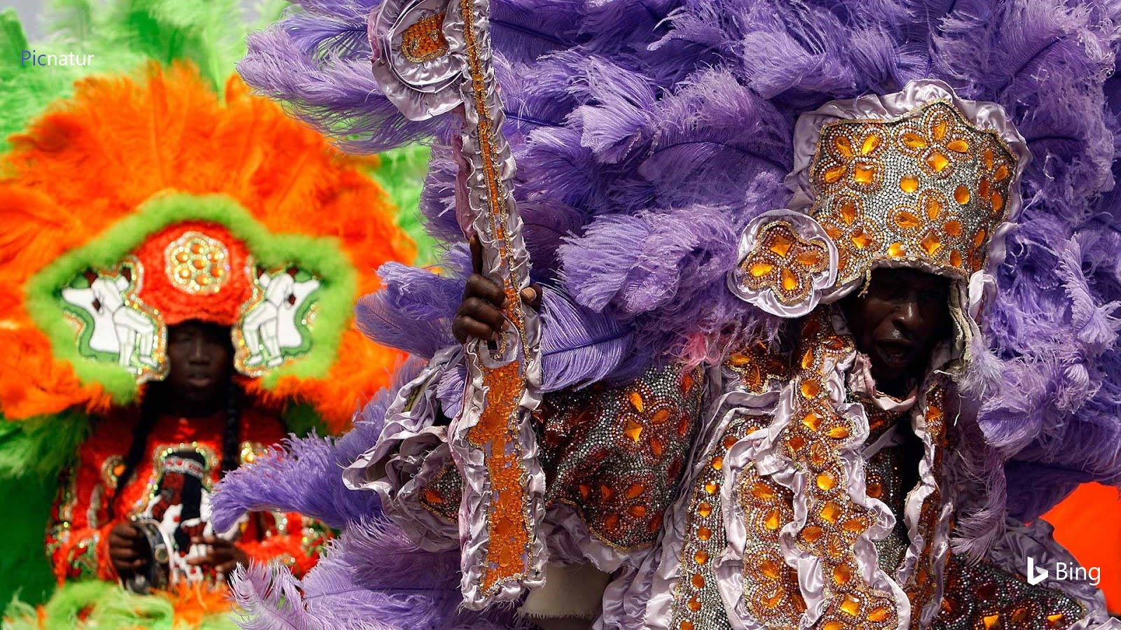 Members of the Wild Red Flame Mardi Gras Indians in New Orleans, Louisiana © Chris Graythen/Getty Images