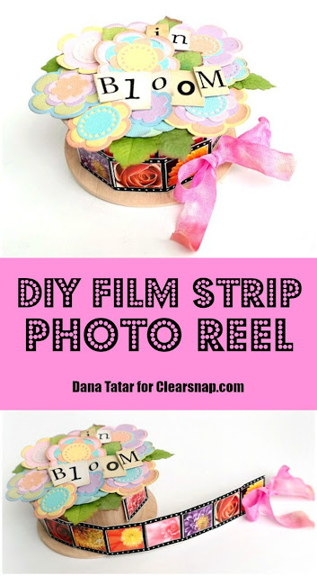 DIY Spring Flower Film Strip Photo Reel Tutorial by Dana Tatar for Clearsnap