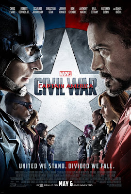 Movie Cover of Marvel Captain America Civil War. Tag Line Text: United We Stand. Divided We Fall. Chris Evans Robert Downey Jr. Scarlett Johansson Sebatian Stan Jeremy Renner Don Cheadle Anthony Mackie Paul Bettany Elizabeth Olsen and Daniel Bruhl. In 3D, real D 3D May 6 and Imax 3D. Image of superheroes facing off