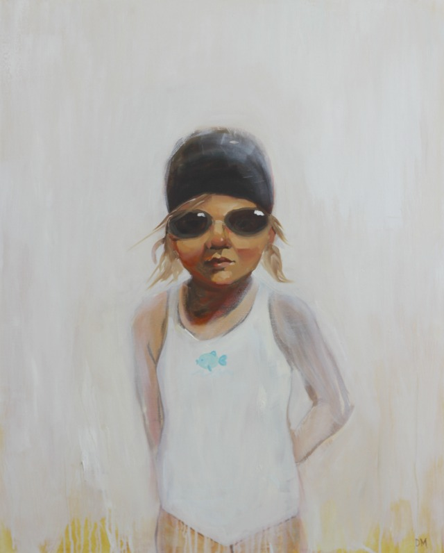 painting of girl swimmer, bathing cap and goggles, figurative art