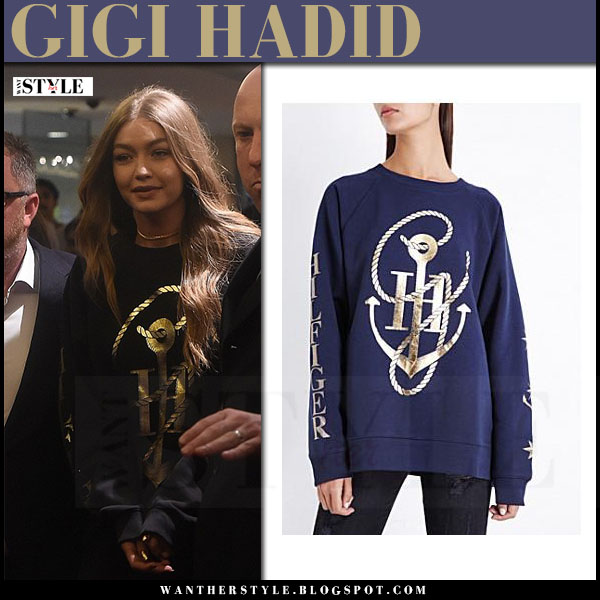Gigi Hadid in navy gold anchor print sweatshirt tommy hilfiger what she wore