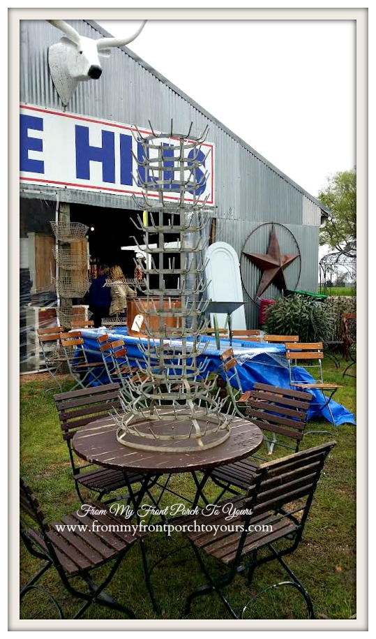 Round Top- Blue Hills-French Bottle Drying Rack-Antiquing-From My Front Porch To Yours