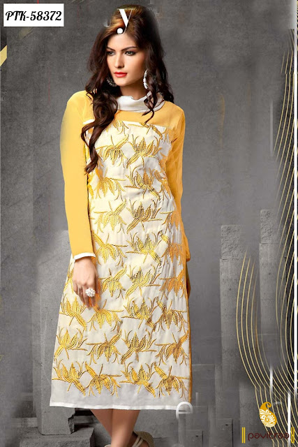 white yellow color santoon designer kurti tunic 2016 with discount sale in low cost with free shipping cash on delivery service