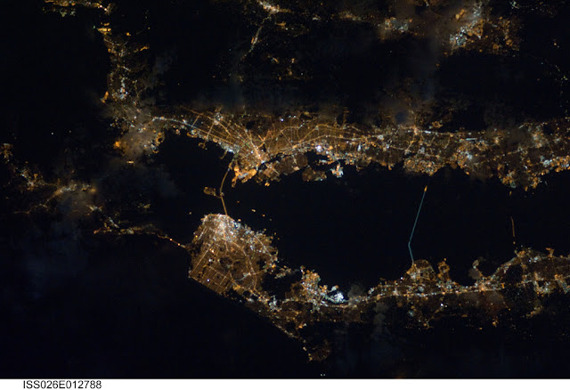 Satellite photo of the San Francisco and the Bay area as seen from space