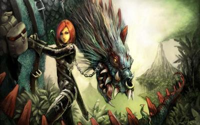 Fille Guerrière Dragon - Fond d'Écran en Full HD 1080p
