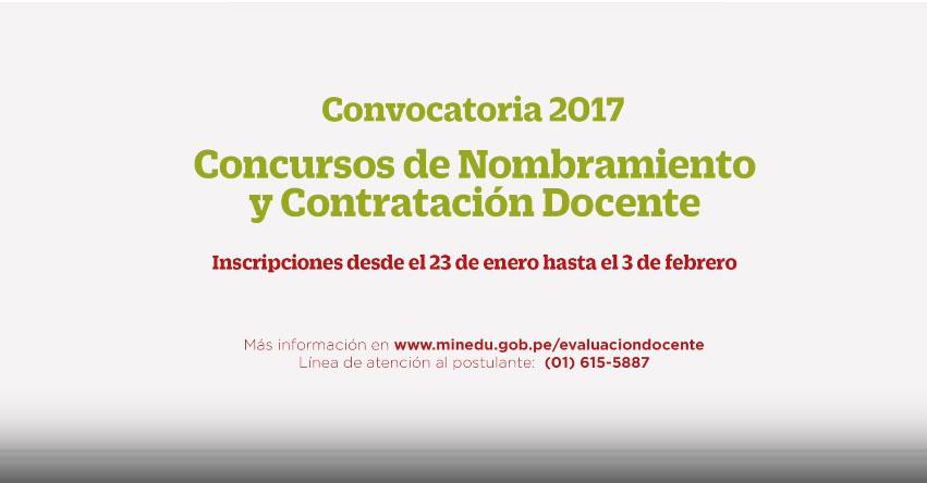 Convocatoria 2017 campa a concursos de nombramiento y for Convocatoria docentes 2016 ministerio de educacion