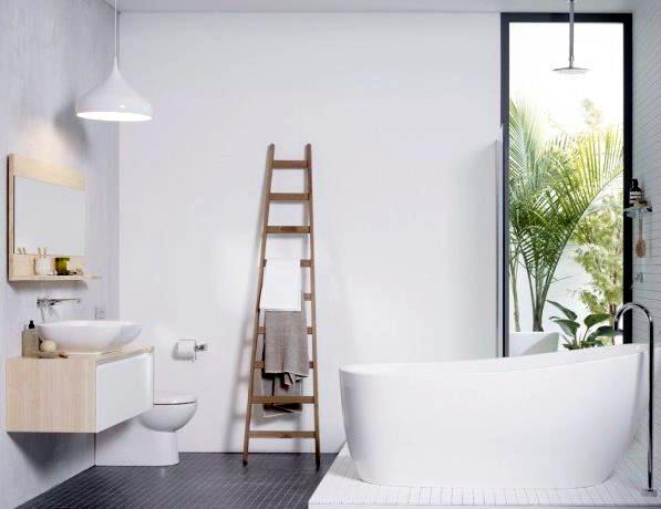 kamar mandi skandinavian warna putih