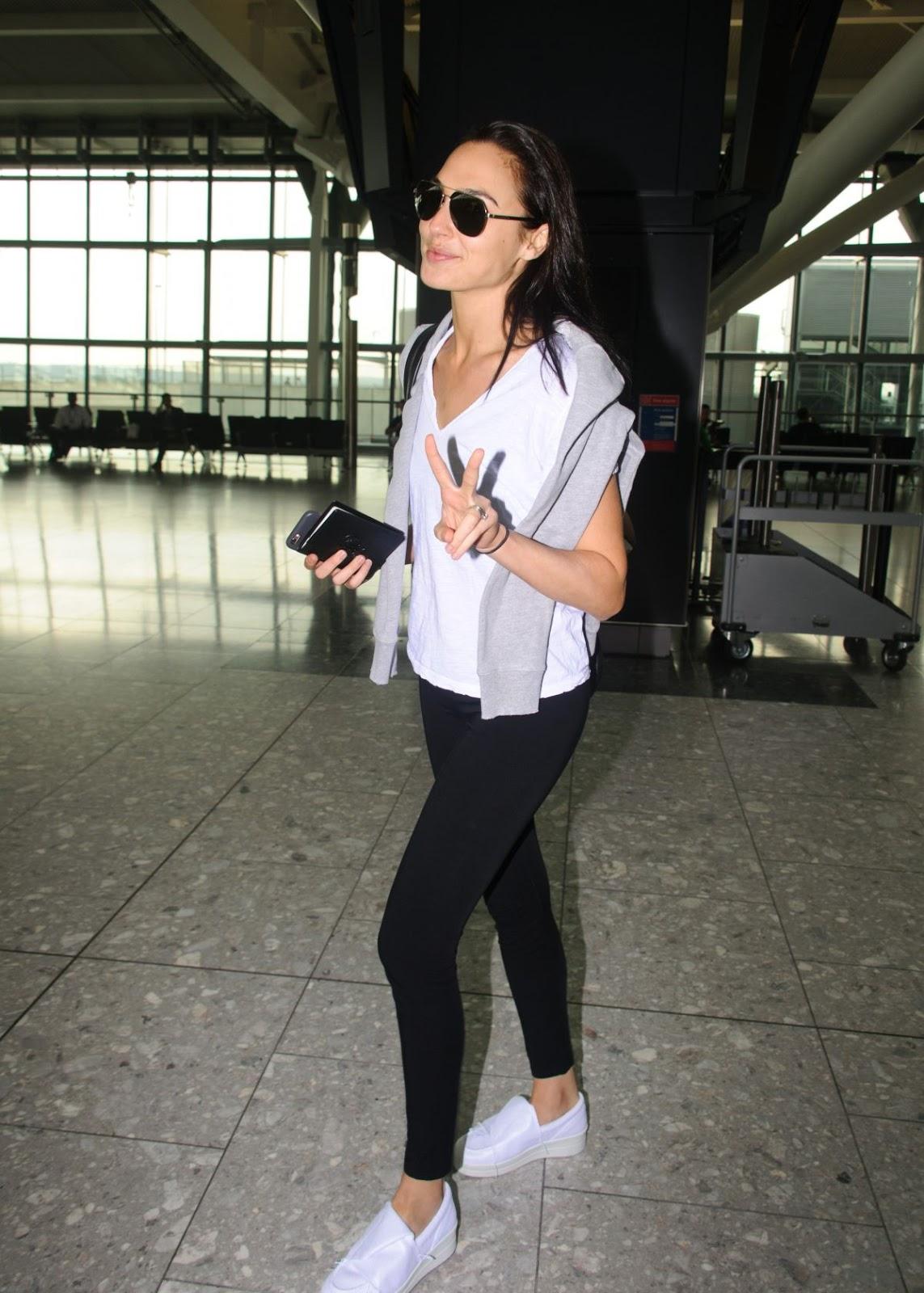 Gal Gadot At Heathrow Airport In London