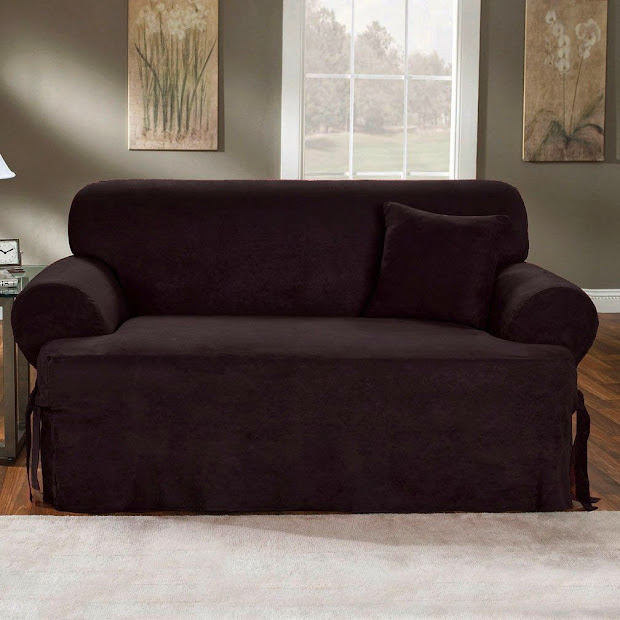 Black Slipcovers Sofas Dual Reclining Sofa Slipcover T Cushion Suede Sure Fit Couch