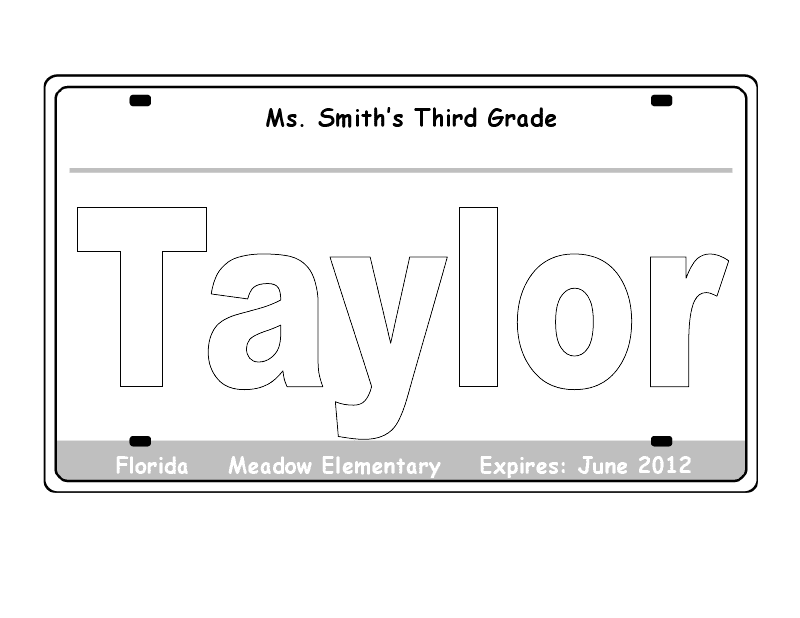 Revered image in printable license plate template