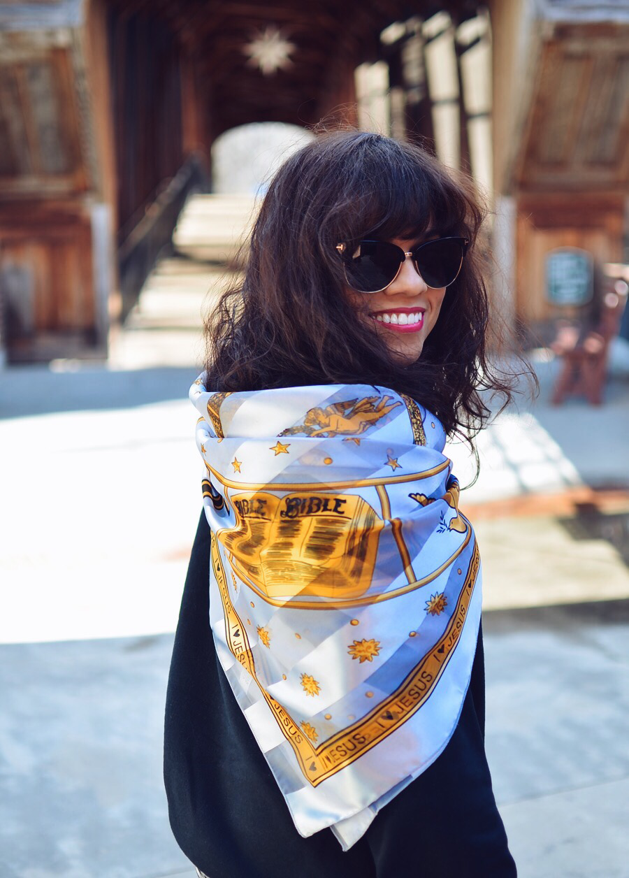 Silk scarf street style